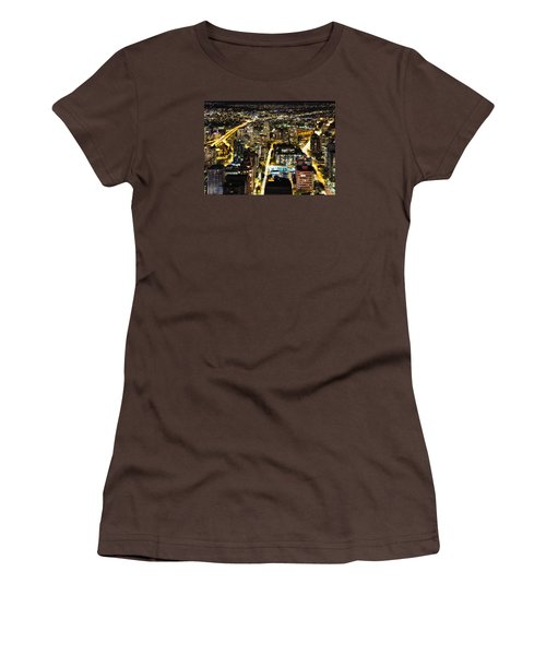 Women's T-Shirt (Junior Cut) featuring the photograph Cityscape Golden Burrard Bridge Mdlxiv by Amyn Nasser
