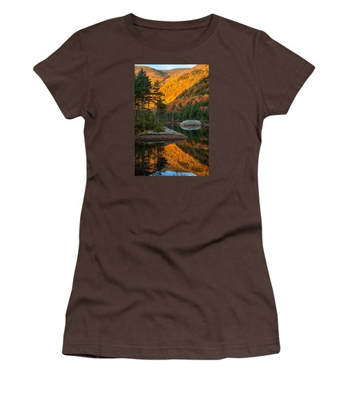 Women's T-Shirt (Junior Cut) featuring the photograph Dawns Foliage Reflection by Jeff Folger