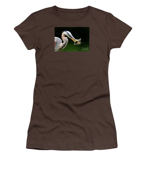 Women's T-Shirt (Junior Cut) featuring the photograph Great Blue Heron And The Catfish by Kathy Baccari