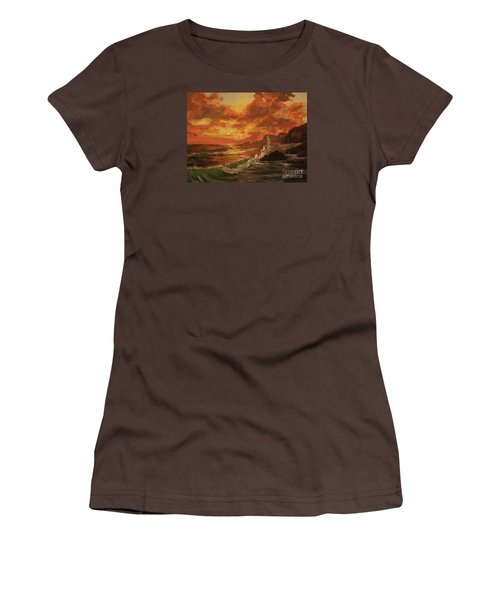 Women's T-Shirt (Junior Cut) featuring the painting Wave Crash by Vanessa Palomino