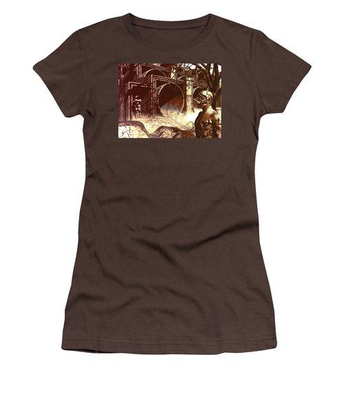 Women's T-Shirt (Junior Cut) featuring the digital art World Of Ruin by John Alexander
