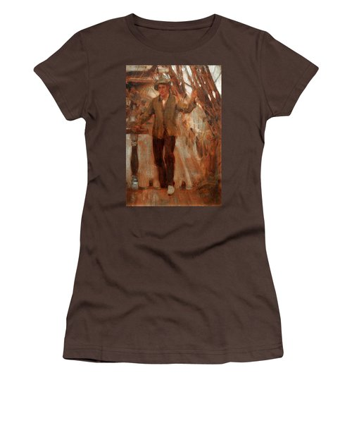 Women's T-Shirt (Junior Cut) featuring the painting At The Break Of The Poop  by Henry Scott Tuke