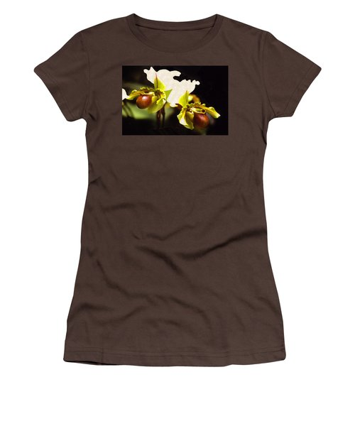 Women's T-Shirt (Junior Cut) featuring the mixed media Paphiopedilum Orchid by Rosalie Scanlon