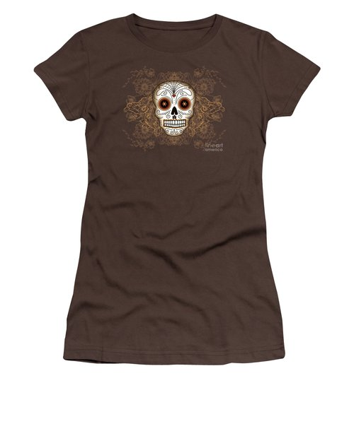 Vintage Sugar Skull Women's T-Shirt (Junior Cut) by Tammy Wetzel