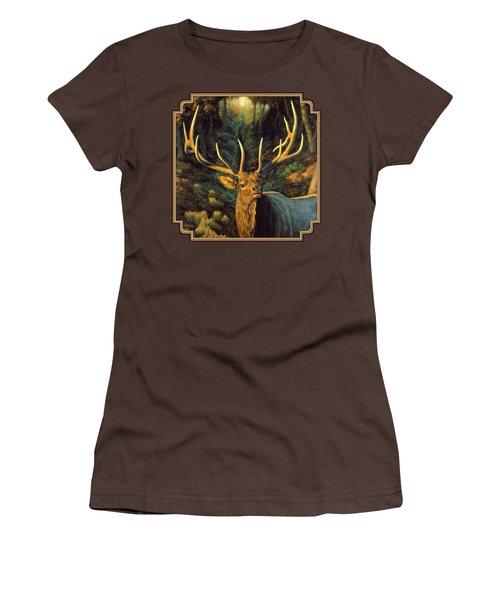 Elk Painting - Autumn Majesty Women's T-Shirt (Junior Cut) by Crista Forest