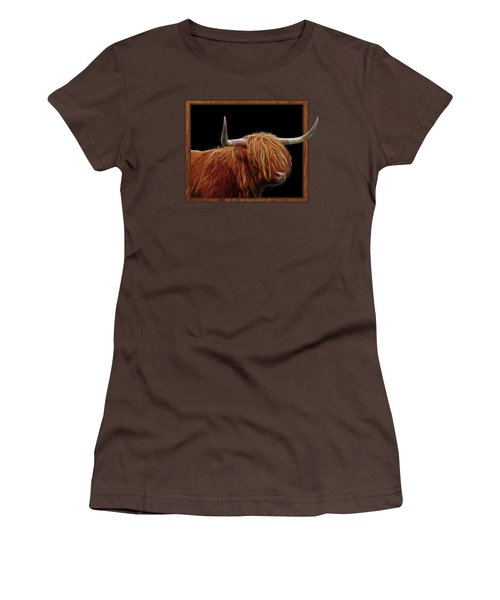 Bad Hair Day - Highland Cow - On Black Women's T-Shirt (Junior Cut) by Gill Billington