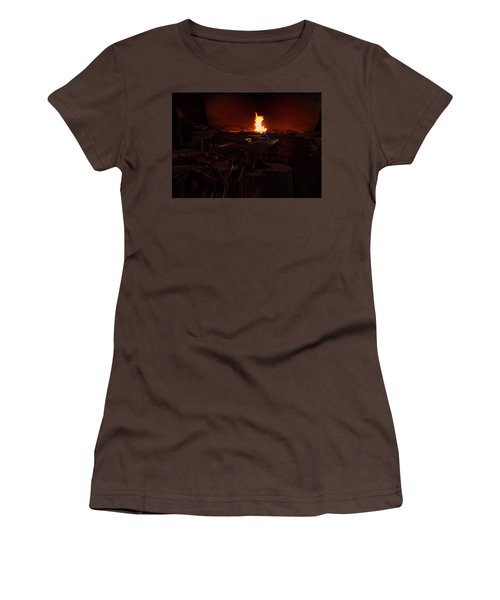 Women's T-Shirt (Junior Cut) featuring the digital art Blacksmith Shop by Chris Flees