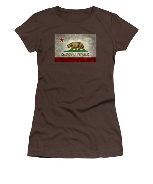 California Republic State Flag Retro Style Women's T-Shirt (Junior Cut) by Bruce Stanfield