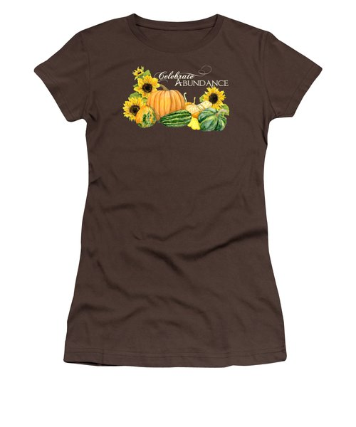 Celebrate Abundance - Harvest Fall Pumpkins Squash N Sunflowers Women's T-Shirt (Junior Cut) by Audrey Jeanne Roberts