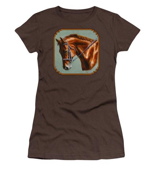 Horse Painting - Focus Women's T-Shirt (Junior Cut) by Crista Forest
