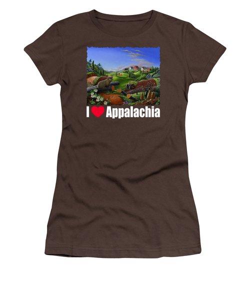 I Love Appalachia T Shirt - Spring Groundhog - Country Farm Landscape Women's T-Shirt (Junior Cut) by Walt Curlee