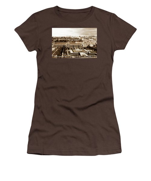 Women's T-Shirt (Junior Cut) featuring the photograph Jeronimos Monastery In Sepia by Lorraine Devon Wilke