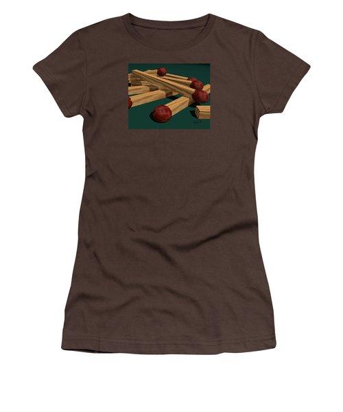 Women's T-Shirt (Junior Cut) featuring the digital art Matches by Walter Chamberlain