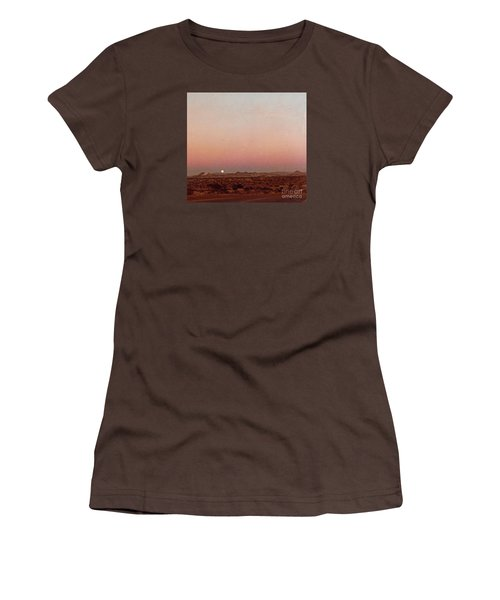 Women's T-Shirt (Junior Cut) featuring the digital art Mojave Sunset by Walter Chamberlain