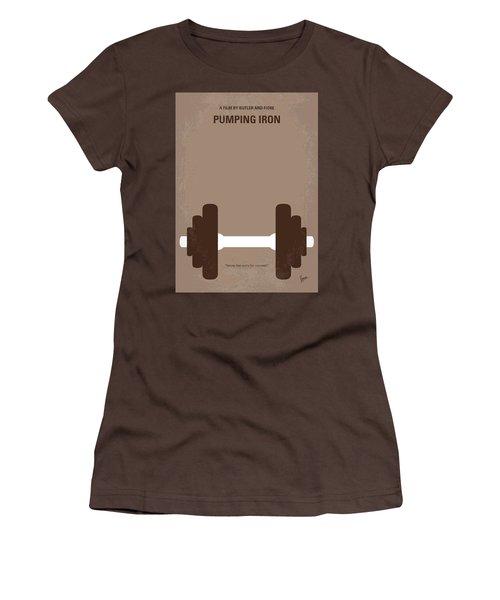 No707 My Pumping Iron Minimal Movie Poster Women's T-Shirt (Junior Cut) by Chungkong Art