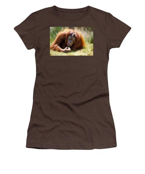 Orangutan In The Grass Women's T-Shirt (Junior Cut) by Garry Gay