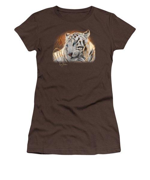 Portrait White Tiger 1 Women's T-Shirt (Junior Cut) by Lucie Bilodeau