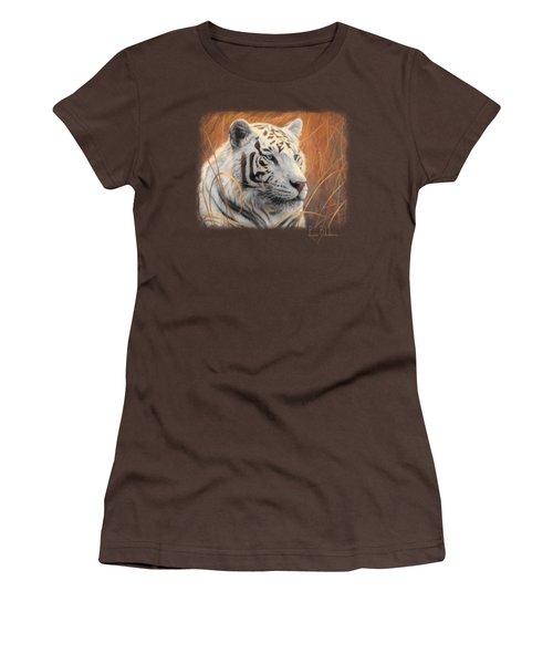 Portrait White Tiger 2 Women's T-Shirt (Junior Cut) by Lucie Bilodeau