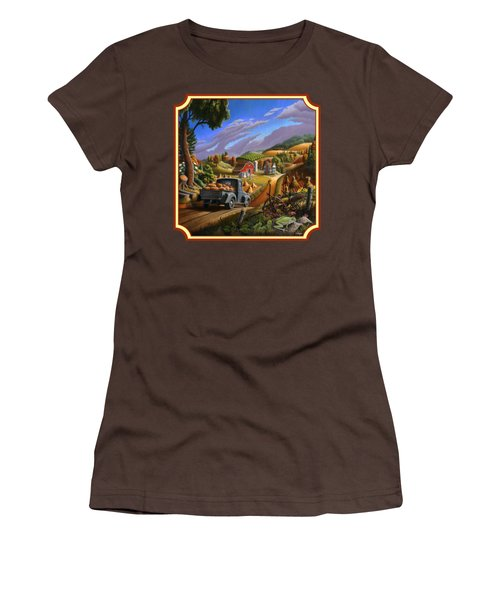 Pumpkins Farm Folk Art Fall Landscape - Square Format Women's T-Shirt (Junior Cut) by Walt Curlee