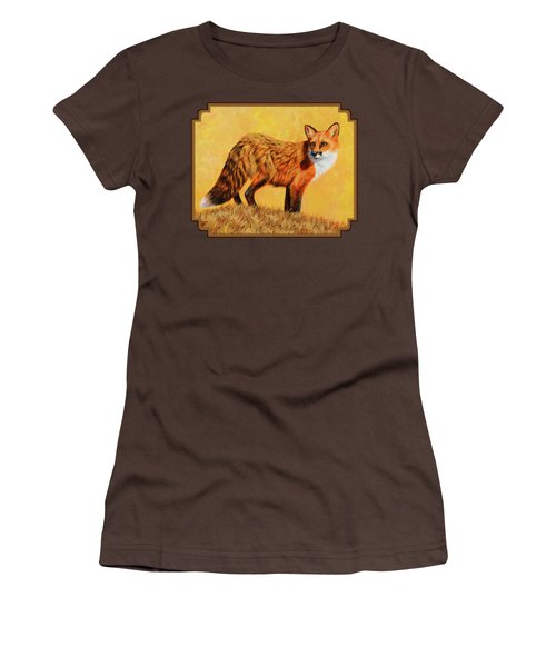 Red Fox Painting - Looking Back Women's T-Shirt (Junior Cut) by Crista Forest