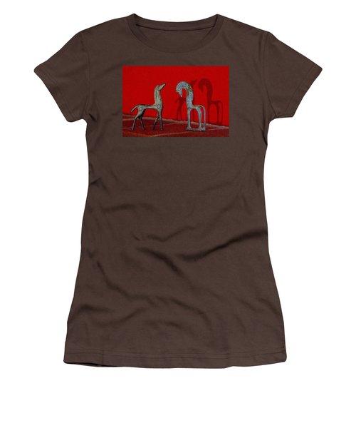 Women's T-Shirt (Junior Cut) featuring the digital art Red Wall Horse Statues by Jana Russon