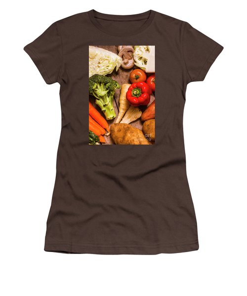 Selection Of Fresh Vegetables On A Rustic Table Women's T-Shirt (Junior Cut) by Jorgo Photography - Wall Art Gallery