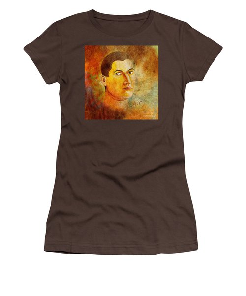 Women's T-Shirt (Junior Cut) featuring the painting Selfportrait Oil by Alexa Szlavics