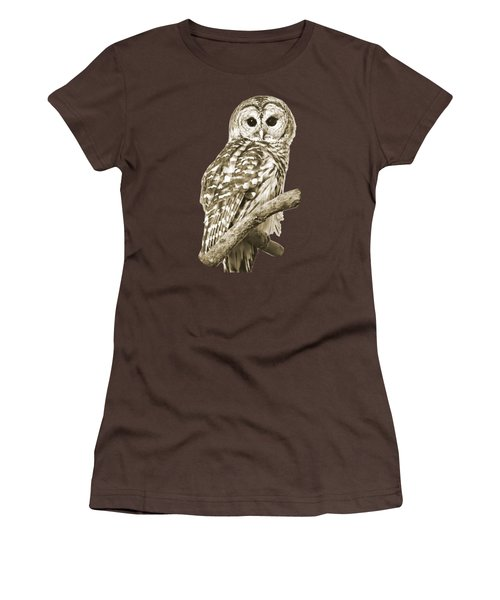 Sepia Owl Women's T-Shirt (Junior Cut) by Christina Rollo