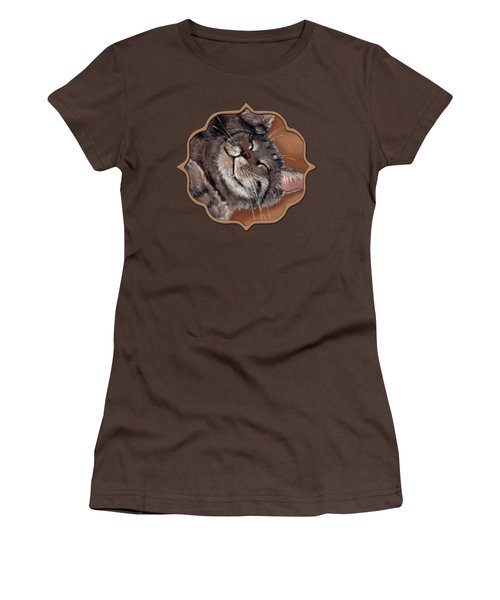 Women's T-Shirt (Junior Cut) featuring the painting Sleepy Kitty by Anastasiya Malakhova