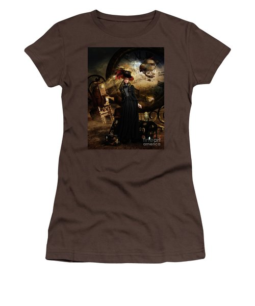 Women's T-Shirt (Junior Cut) featuring the digital art Steampunk Time Traveler by Shanina Conway