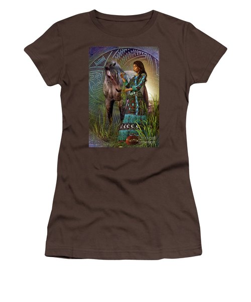 Women's T-Shirt (Junior Cut) featuring the digital art The Horse Whisperer by Shadowlea Is