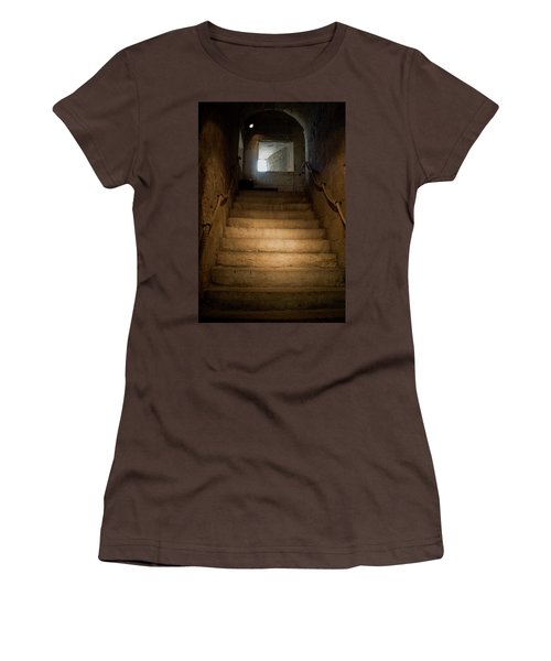 Women's T-Shirt (Junior Cut) featuring the photograph Up The Ancient Stairs by Lorraine Devon Wilke