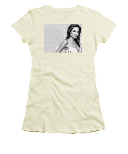 Movie Star Angelina Jolie Black And White Women's T-Shirt (Junior Cut) by Georgi Dimitrov
