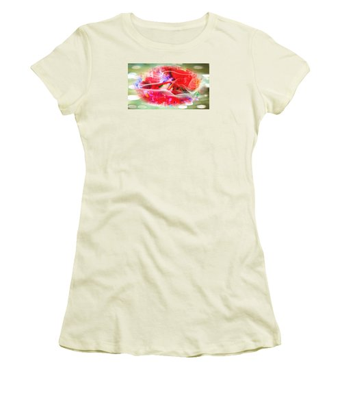 The Flowers Of Fiery Red In Abstract Concept  Women's T-Shirt (Athletic Fit)