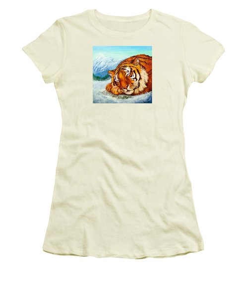 Women's T-Shirt (Junior Cut) featuring the painting  Tiger Sleeping In Snow by Bob and Nadine Johnston