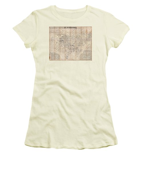 1710 First Japanese Buddhist Map Of The World Showing Europe America And Africa Women's T-Shirt (Junior Cut) by Paul Fearn