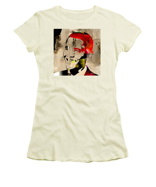 Women's T-Shirt (Junior Cut) featuring the photograph Barack Obama by Marvin Blaine