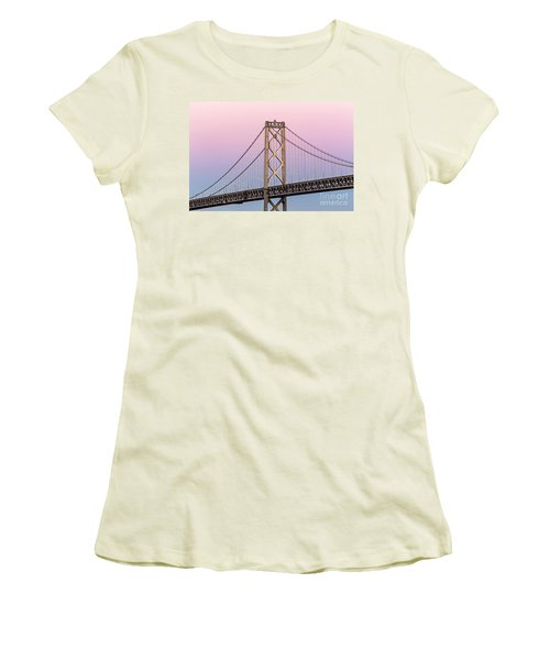 Bay Bridge Lights At Sunset Women's T-Shirt (Athletic Fit)
