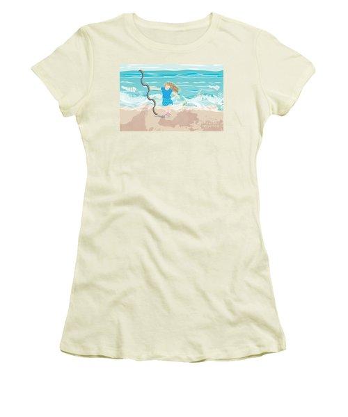 Women's T-Shirt (Junior Cut) featuring the digital art Beach Rainbow Girl by Kim Prowse