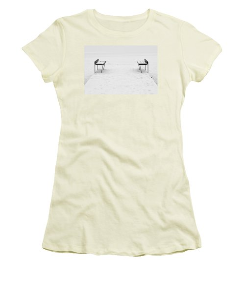 Benches On A Dock Women's T-Shirt (Junior Cut) by Jouko Lehto