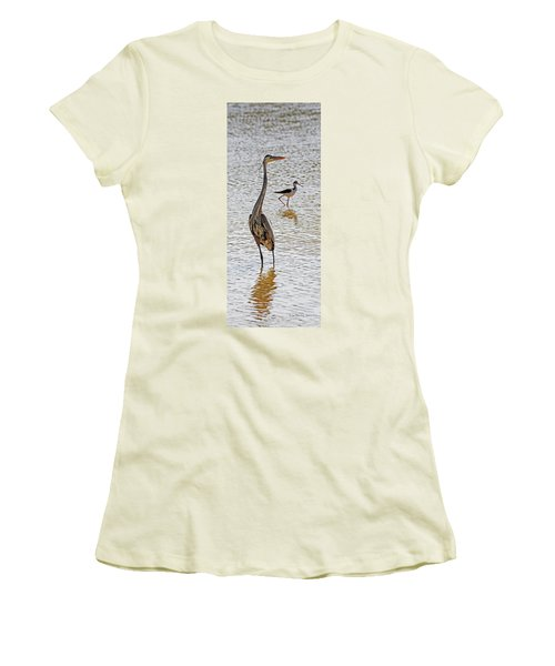 Blue Heron And Stilt Women's T-Shirt (Athletic Fit)