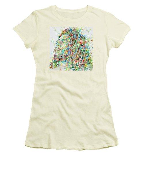 Bob Marley Watercolor Portrait.1 Women's T-Shirt (Junior Cut)