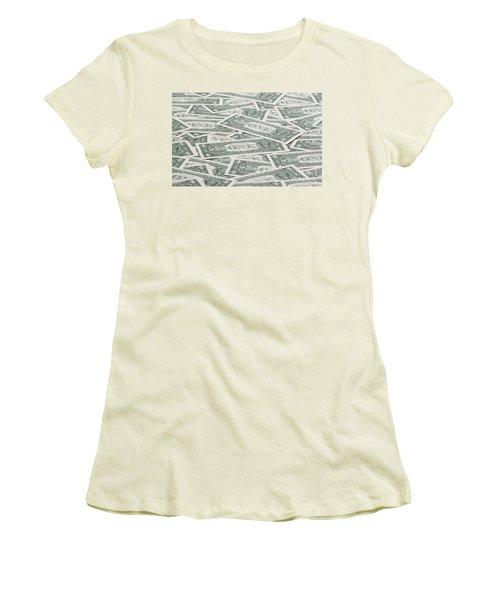 Women's T-Shirt (Junior Cut) featuring the photograph Carpet Of One Dollar Bills by Lee Avison