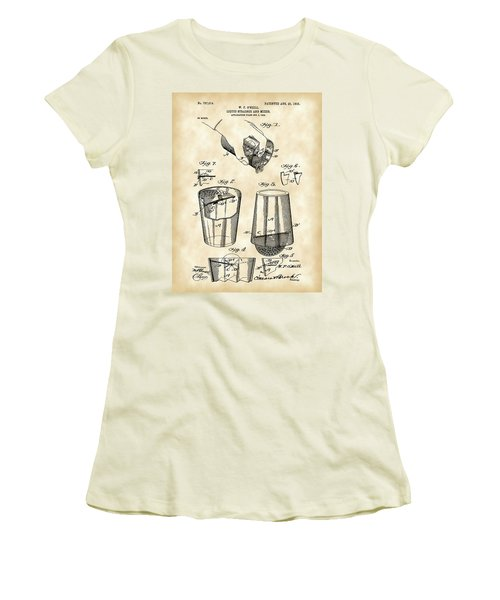 Cocktail Mixer And Strainer Patent 1902 - Vintage Women's T-Shirt (Athletic Fit)