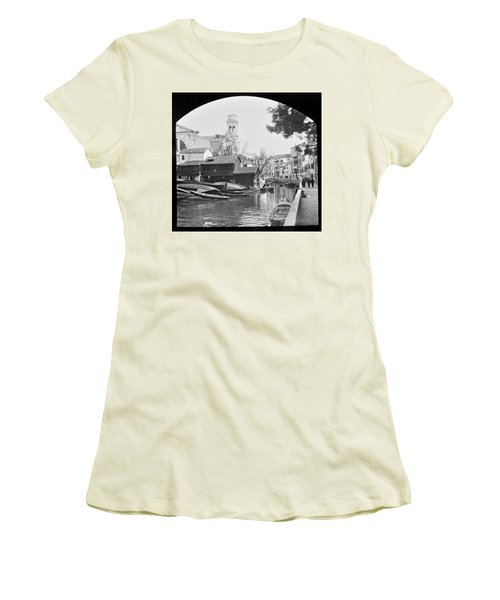 Women's T-Shirt (Junior Cut) featuring the photograph Pegnitz River Nuremberg Germany 1903 by A Gurmankin