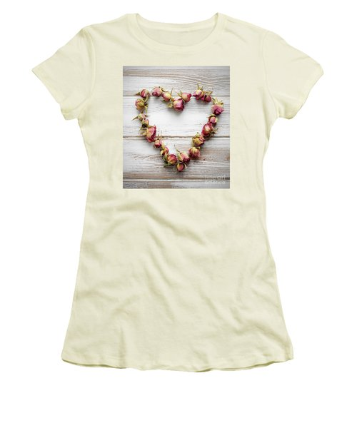Heart From Dry Rose Buds Women's T-Shirt (Athletic Fit)