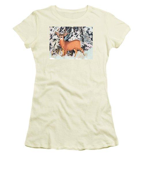 Mule Deer Women's T-Shirt (Junior Cut) by Dan Miller