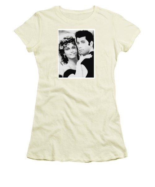 Olivia Newton John And John Travolta In Grease Collage Women's T-Shirt (Athletic Fit)