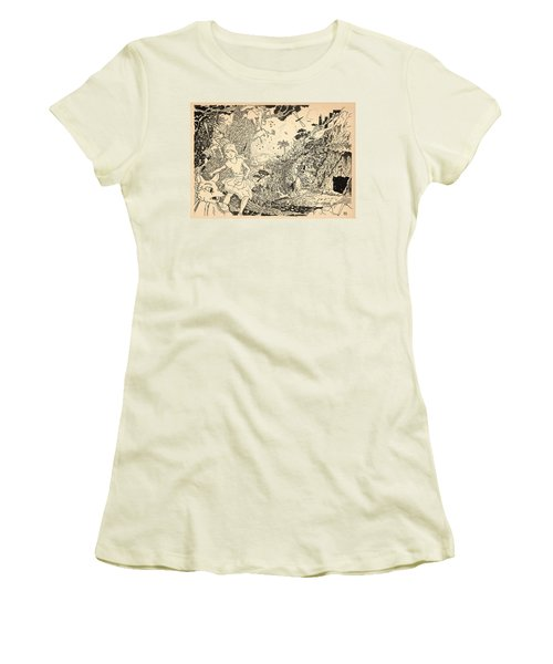 Women's T-Shirt (Junior Cut) featuring the drawing Open Sesame by Reynold Jay