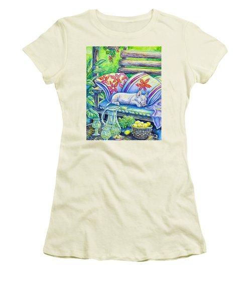 Pig On A Porch Women's T-Shirt (Junior Cut) by Gail Butler